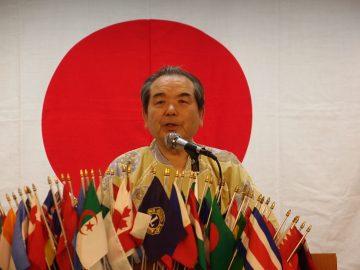 最終の会長挨拶 L野田 泰義 全員浴衣姿で参加です!